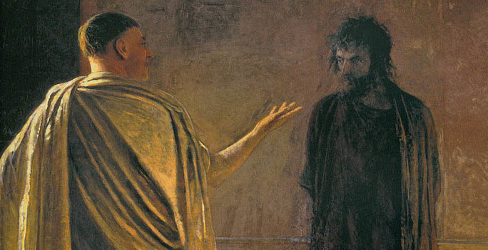 "Ge, Nikolay Nikolayevich ""What is truth?"" Christ and Pilatus 1890, oil on canvas"